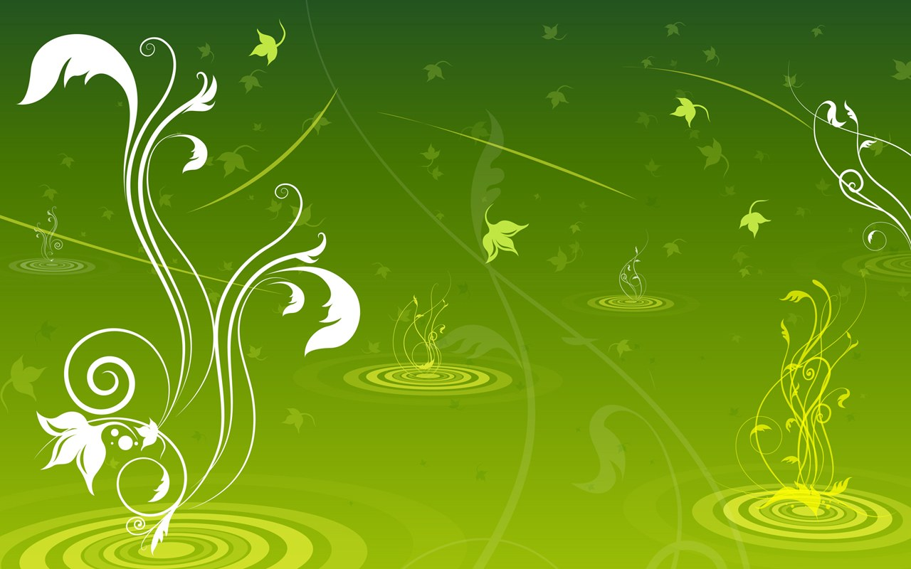 Green Flowers Background Wallpaper
